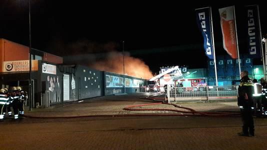 Brand bij het Boxmeers Tapijthuis.