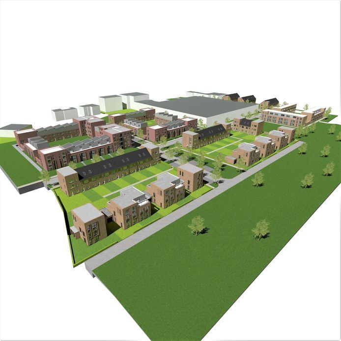 Overzicht van de beoogde nieuwbouwwijk zoals ontwikkelaar Solidiam die wil bouwen op het voormalige terrein van British American Tobacco (BAT).