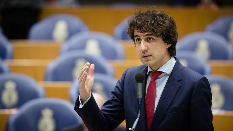 Jesse Klaver in actie tijdens een debat in de Tweede Kamer. Beeld anp