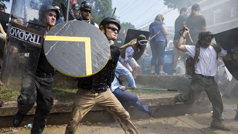Blanke nationalisten afgelopen zaterdag in Charlottesville. Beeld getty