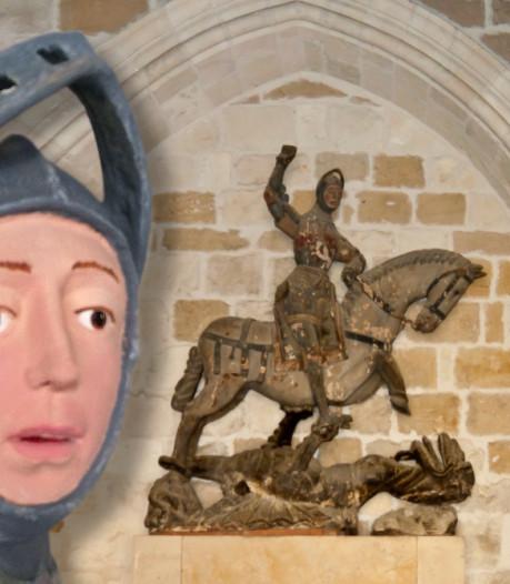 Prutswerk tovert 500 jaar oud beeld van Sint Joris om in Disneyfiguur