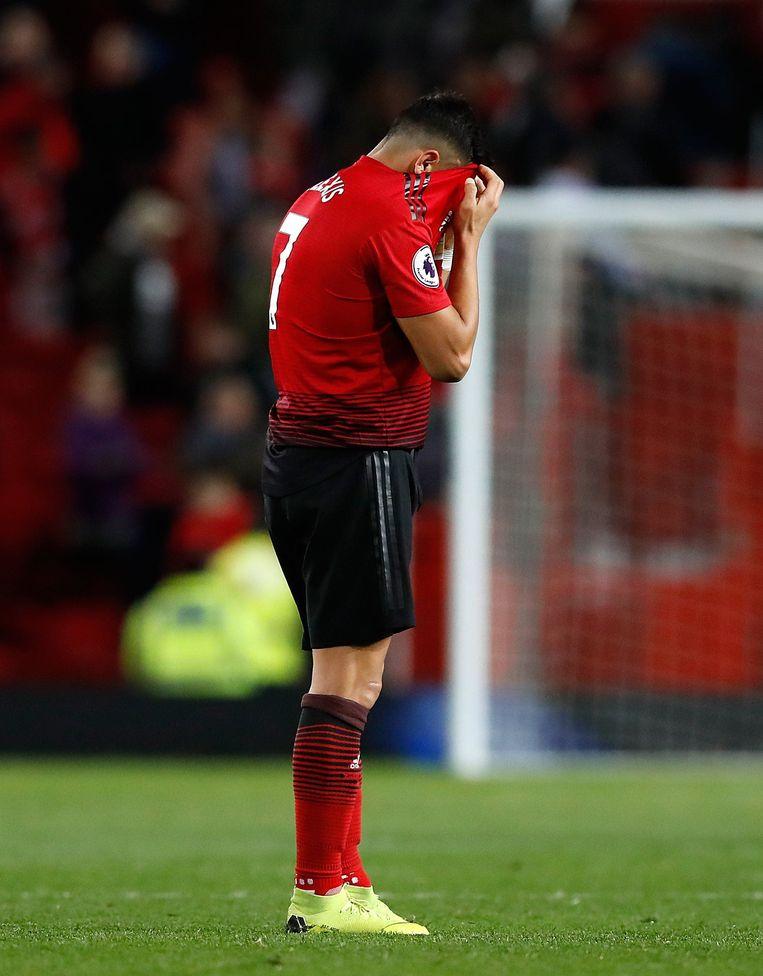 Alexis Sanchez in de Manchester derby gisteren. Niet in actie.