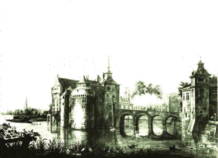 Een historisch beeld van de burcht van Temse. De burcht werd in de 18de eeuw afgebroken en vervangen door het kasteel