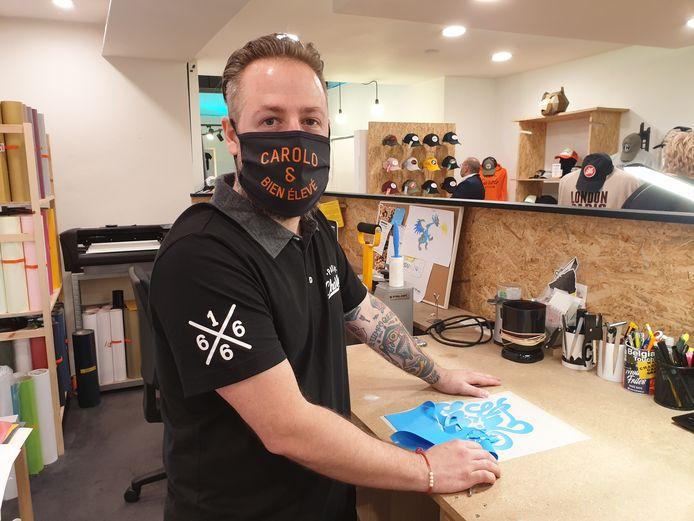 Le gérant de T-Shirt Mania à Charleroi, Nicolas Géa