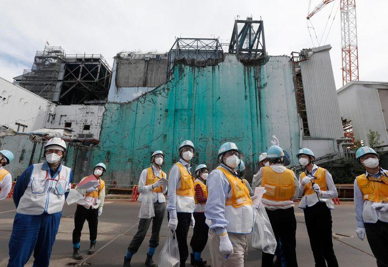 De verwoeste kerncentrale van Fukushima