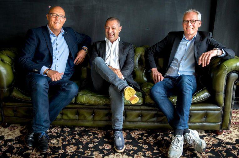 De overnemers van de V&D-merknamen: Jaco Scheffers, Roland Kahn en Ronald van Zetten (vlnr). Beeld anp