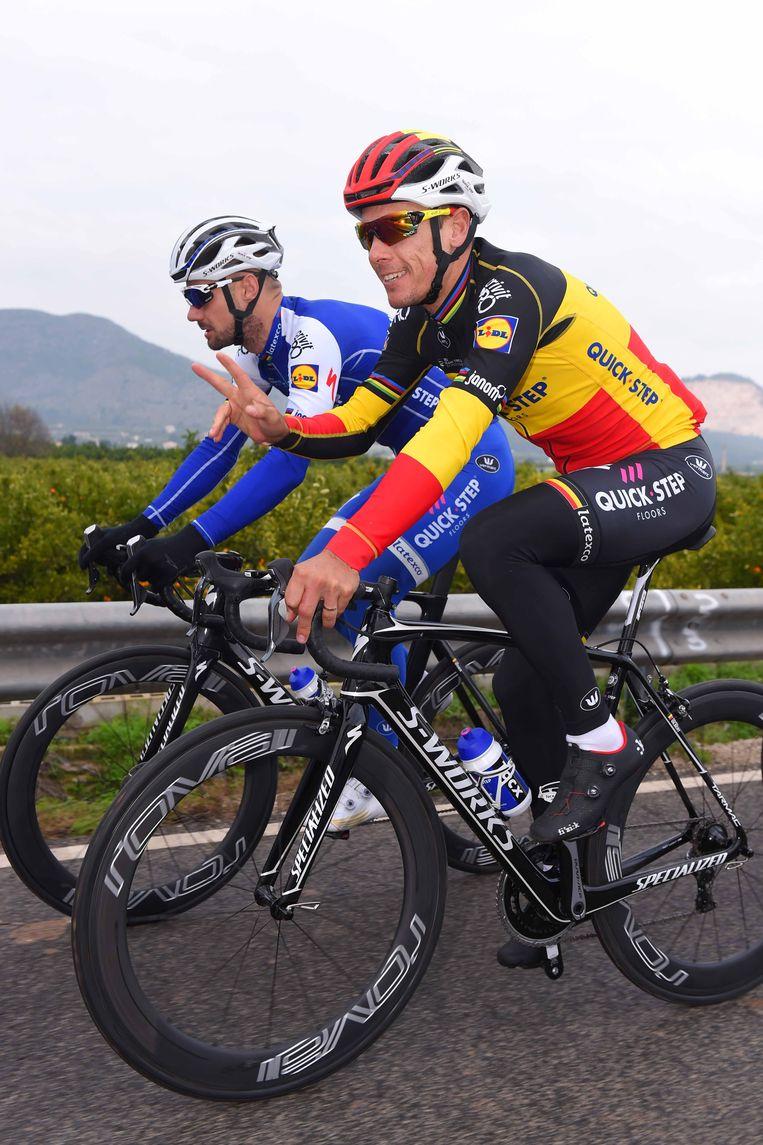 Boonen (l) en Gilbert voor het eerst samen in de Omloop.
