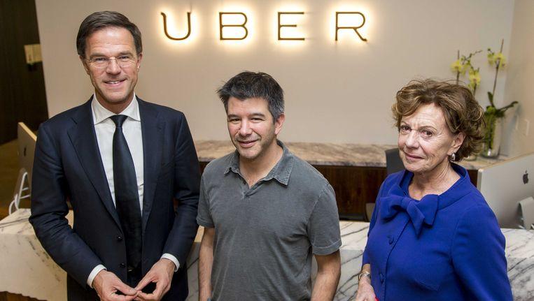 Neelie Kroes samen met premier Rutte op bezoek bij Uber eerder dit jaar. Beeld anp