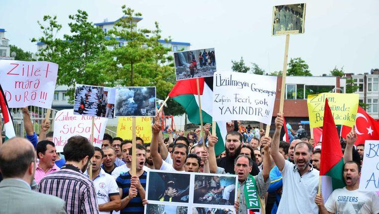 Een pro-Gaza-demonstratie in de Haagse wijk Transvaal in juli. Beeld anp