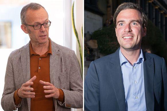 Filip Watteeuw (Groen) en Mathias De Clercq (Open VLD). Het kartel sp.a/Groen zette de onderhandelingen met Open Vld en CD&V in Gent vandaag tijdelijk stop. Een voorstel van De Clercq en CD&V over de verdeling van het schepencollege deed de deur dicht.