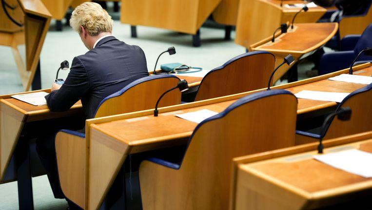 PVV-leider Geert Wilders tijdens het vragenuurtje in de Tweede Kamer. Beeld ANP