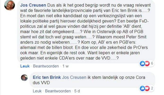 De nieuwe wethouder voor Algemeen Belang in Oisterwijk, Eric ten Brink, laat weten op welke partij hij landelijk stemt