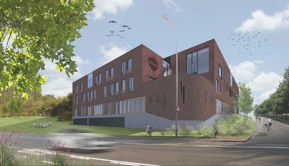 De nieuwbouw voor de lerarenopleiding, op de hoek van de Etienne Sabbelaan en Sint-Denijseweg