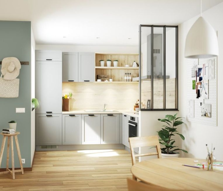 Wandkasten ruimen plaats  voor een of meerdere legplanken. Ideaal om een huiselijke toets te geven aan je keuken.