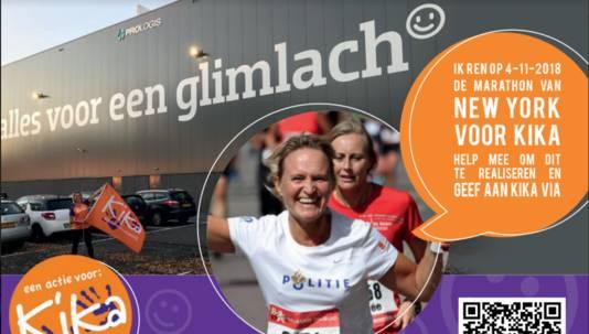 De flyer waarmee Ardie Gijsbers haar deelname voor KiKa aan de marathon van New York bekendmaakt.