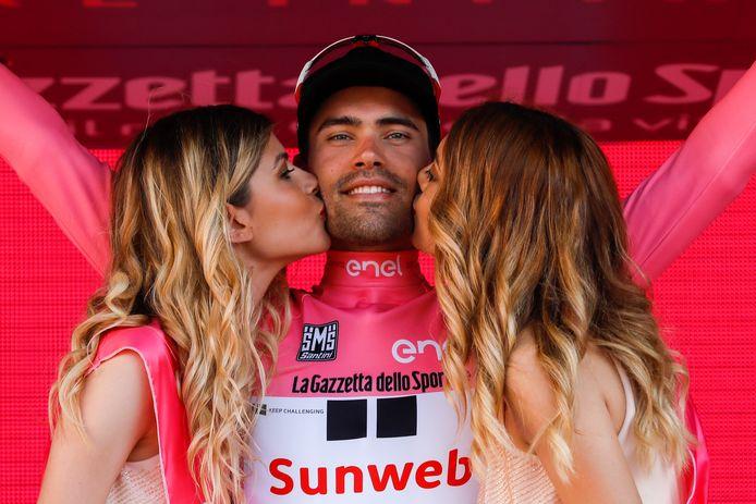 Tom Dumoulin bij zijn Giro-winst in 2017.