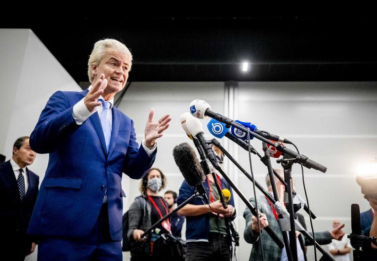 Geert Wilders legt zich niet neer bij de veroordeling van het hof. Beeld ANP