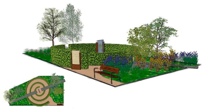Het ontwerp voor het mini-parkje Levenspad, Tuin voor Vincent.