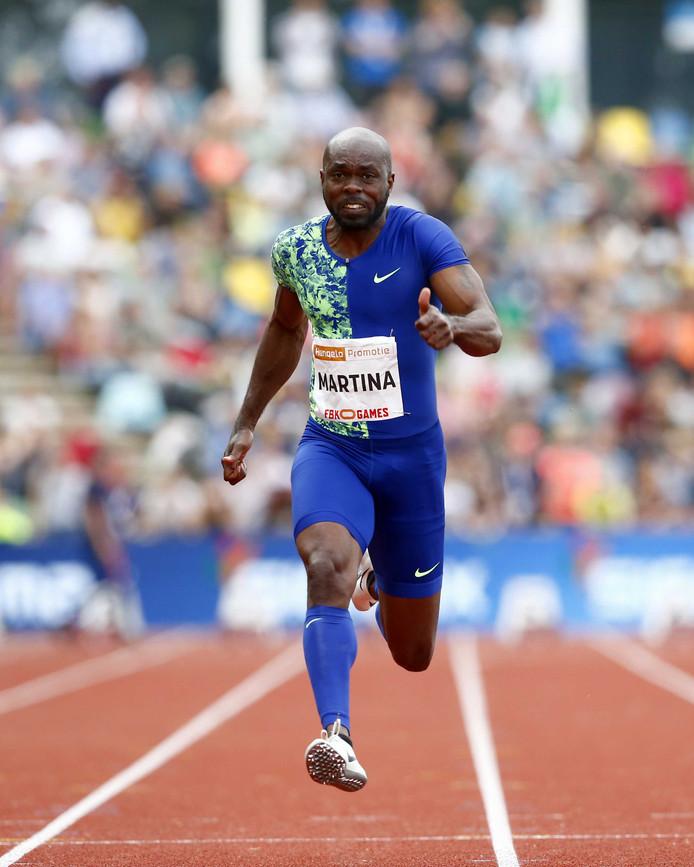 Churandy Martina op de 100 meter sprint tijdens de FBK Games 2019.