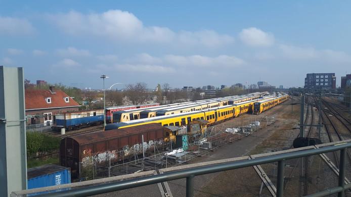 Het rangeerterrein gezien vanaf de Graafsebrug.