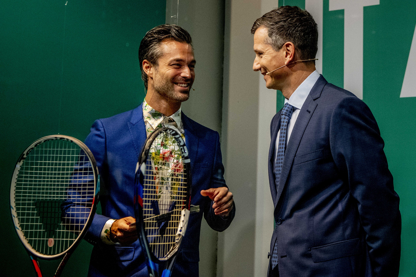 Jan Kooijman en Richard Krajicek tijdens de loting voor het ABN AMRO World Tennis Tournament.