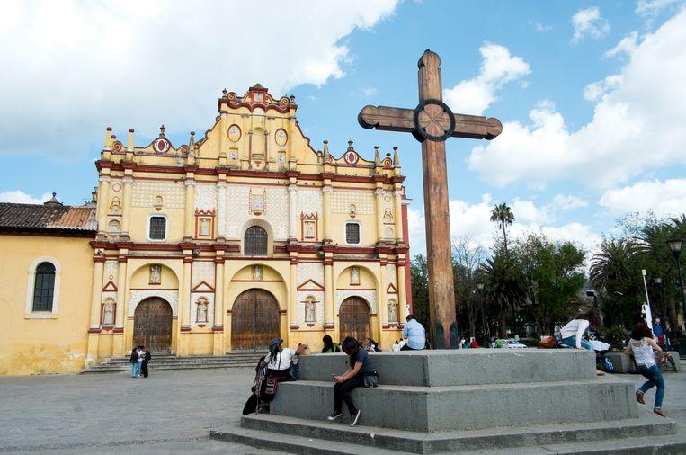 Kathedraal in San Cristobal de las Casas, Chiapas, Mexico. Beeld Corbis via Getty Images
