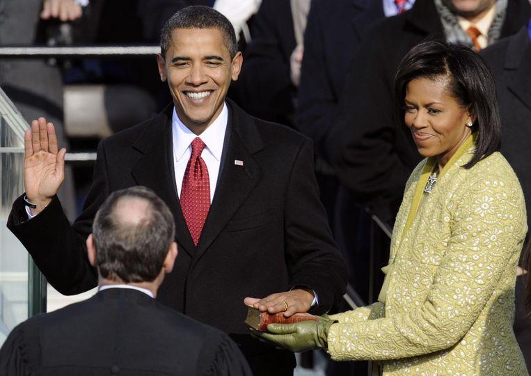 Barack Obama legt de eed af tijdens de inauguratieceremonie in 2009. Beeld anp