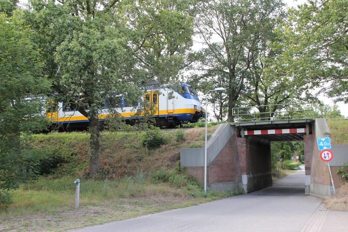 Voor de spoorbrug bij de Aaltinksweg staat een trein stil