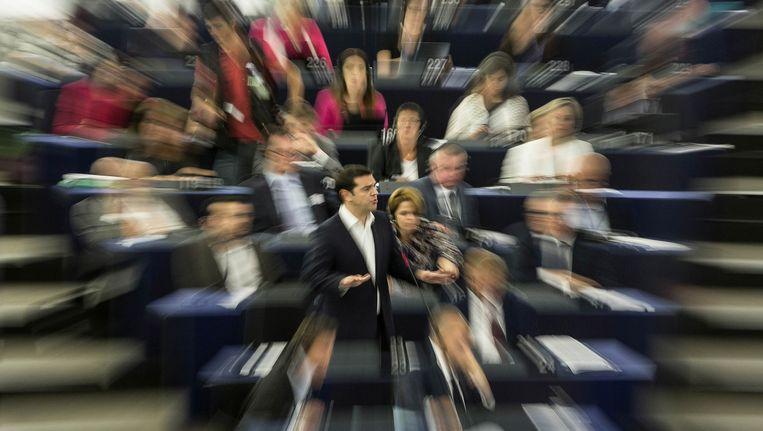 Tsipras in het Europese Parlement, gisteren. Beeld ap