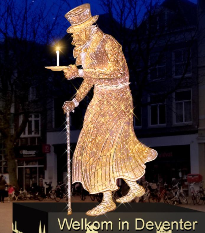 voorbeeld van de nieuwe sfeerverlichting in de deventer binnenstad een verlichte zeven meter hoge