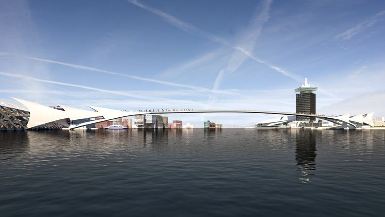 Impressie van een brug over het IJ. Een brug is goedkoper dan extra ponten en zal een impuls betekenen voor de gebiedsontwikkeling en de werkgelegenheid in Amsterdam-Noord. Beeld Cees van Giessen-CIIID