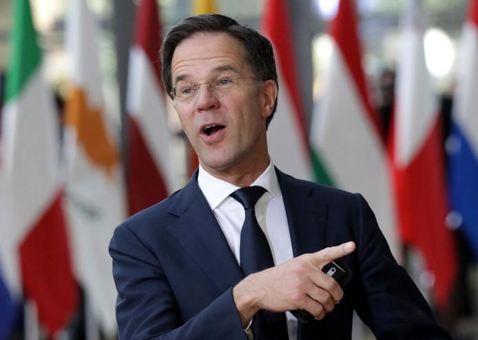 Premier Mark Rutte arriveert op de EU-top in Brussel.