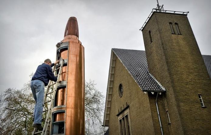 In Wageningen wordt donderdag nabij Hotel De Wereld het omstreden Vrijheidsvuur geplaatst. Foto: ANP
