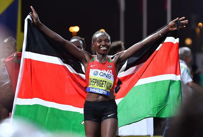 De Keniaanse atlete Ruth Chepngetich.