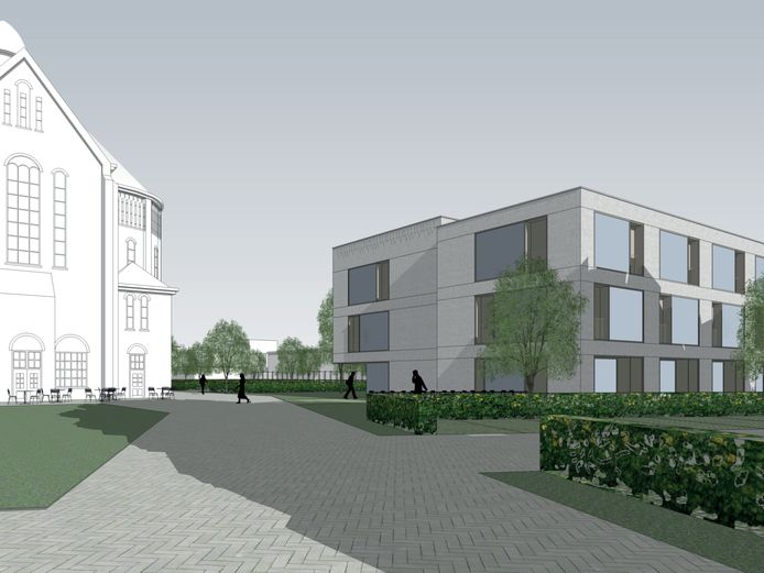 Links de voormalige klooster en kweekschool, rechts de nieuwbouw met 30 appartementen.