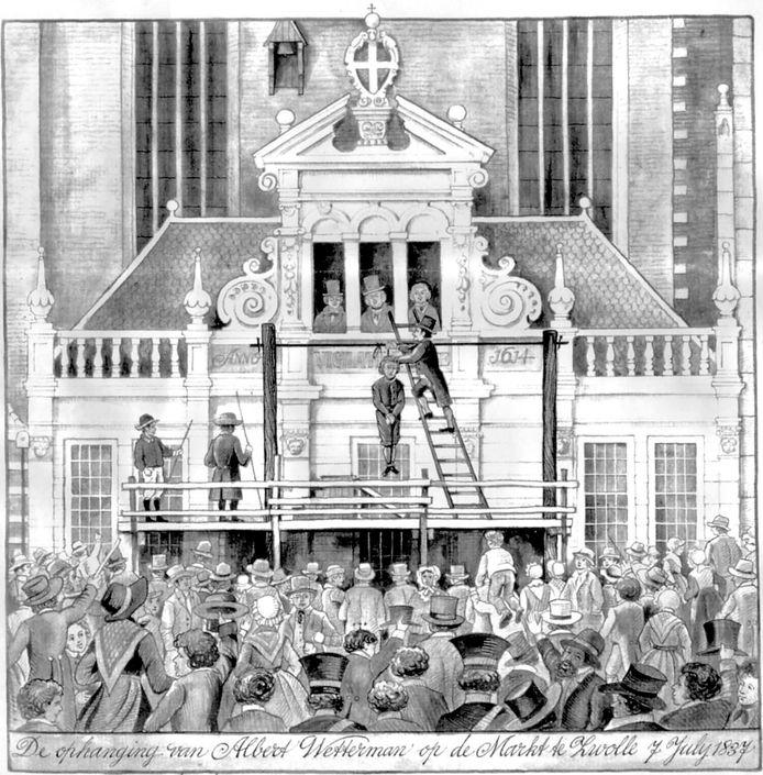 """''De ophanging"""" van Albert Wetterman op de markt te Zwolle. In Den Bosch stond het ook zwart van het volk."""