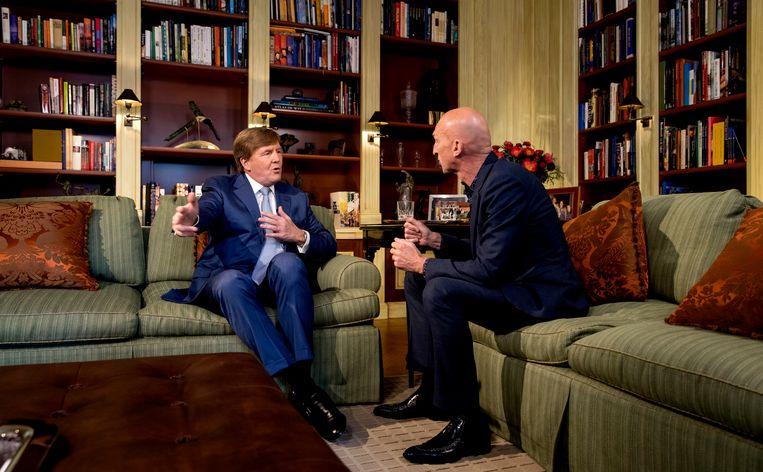 Het interview van Wilfried de Jong met de jarige Willem-Alexander. Beeld ANP