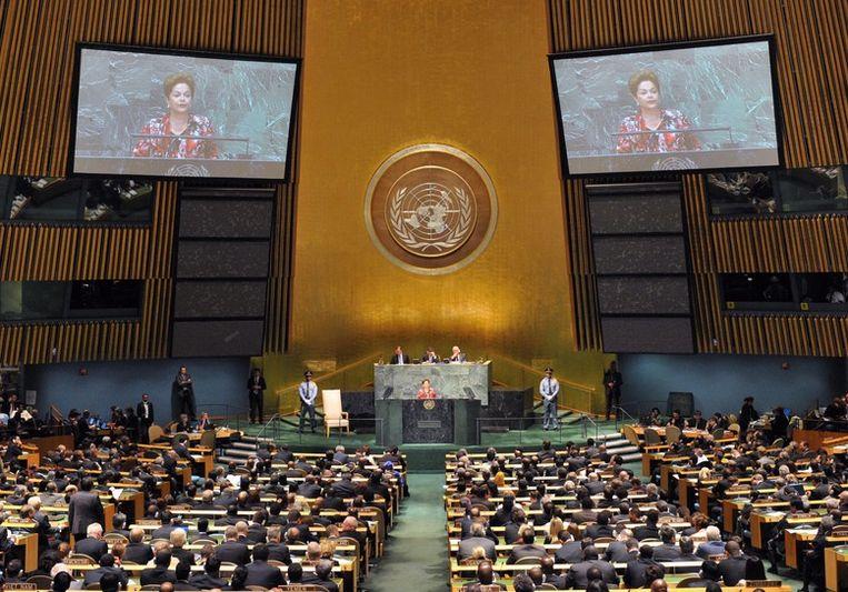 De Algemene Vergadering van de VN in New York, eerder deze week Beeld epa