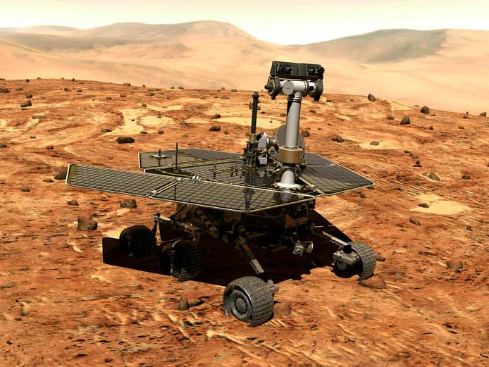 Een artistieke impressie van de Opportunity op het Marsoppervlak.