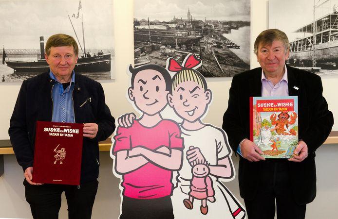 Raoul De Graeve, voorzitter van de Culturele Vereniging Spirit, en burgemeester Luc De Ryck, op wiens vraag Paul Geerts een Suske en Wiske-verhaal situeerde in Temse.