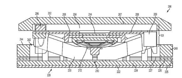 Dwarsdoorsnede van een toets, zoals een diagram uit het Applepatent ze aangeeft.