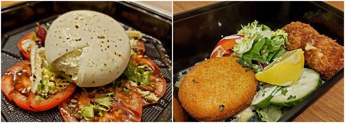 Buratta op carpaccio van tomaat (links) en Duo van kaas- en garnaalkroket (rechts).