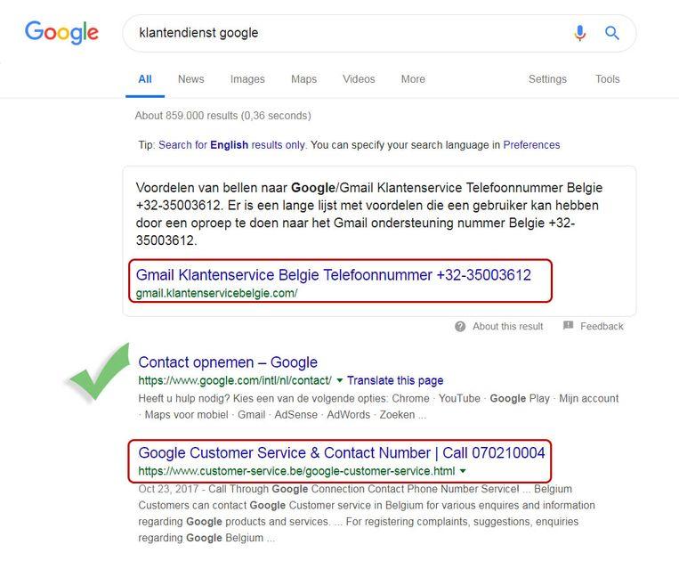 De echte contactgegevens vind je op Google.com of Google.be. De twee andere pagina's zijn vervalst.