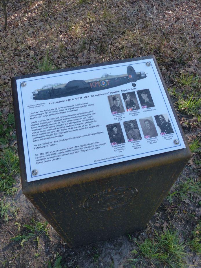 Een van de informatiepanelen die de Historische Kring Dalfsen op een plek waar een vliegtuig crashte heeft laten plaatsen.