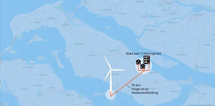 Waterstof wordt over vijf jaar via turbines opgewekt en naar de huizen gepompt.