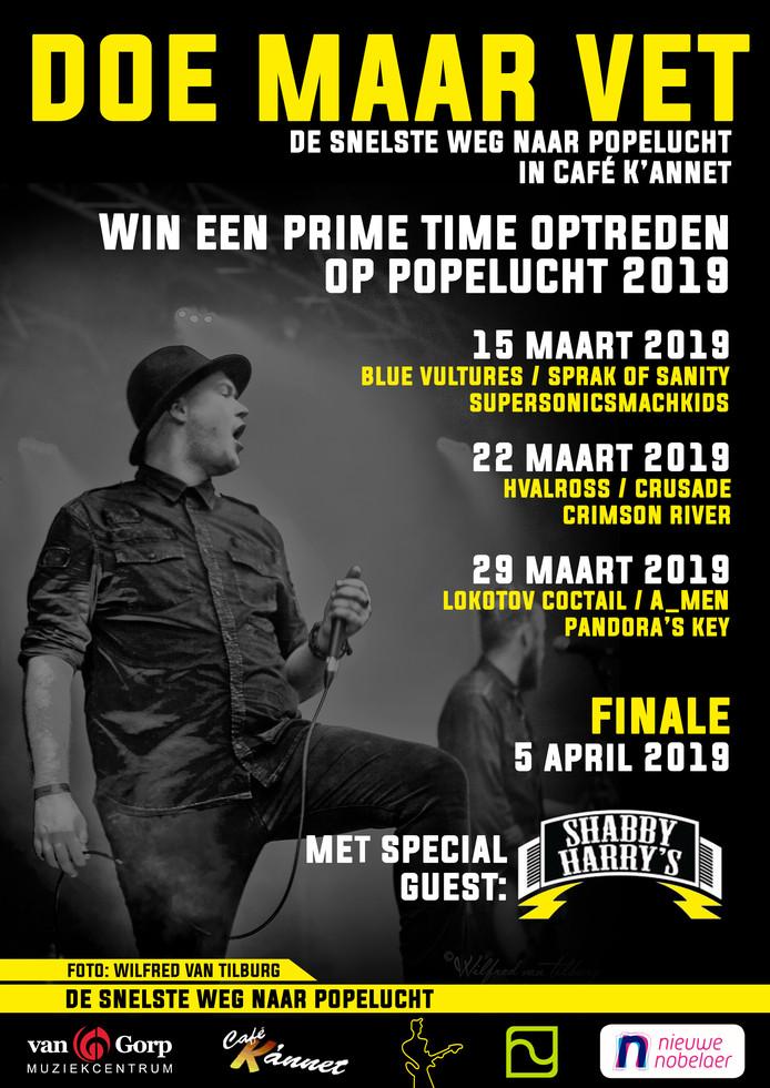 De poster voor de 'vetste bandwedstrijd in Noord-Brabant'.