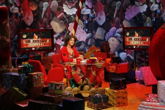 Dieuwertje Blok in de studio van het Sinterklaasjournaal