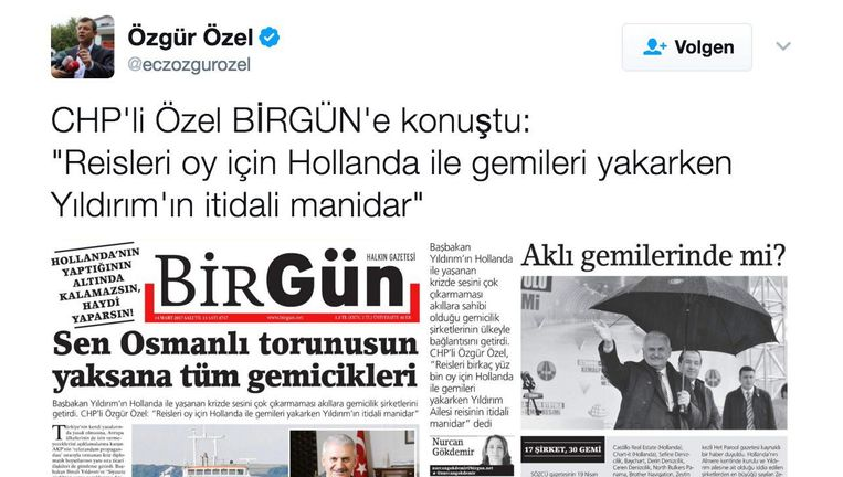 CHP-politicus Özel twitterde dinsdag over het artikel over Yildirims zakelijke belangen Beeld Twitter