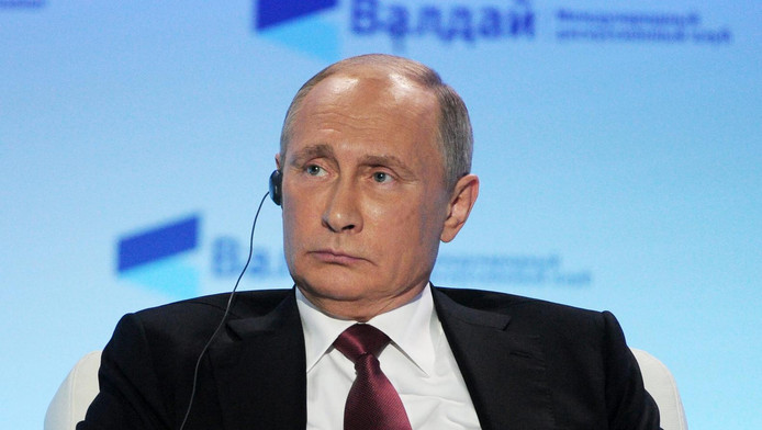 Poetin vanmiddag op de bijeenkomst in Sotsji
