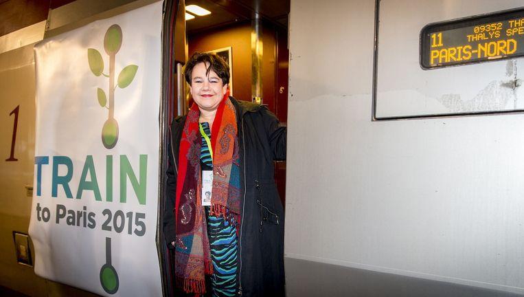 Staatssecretaris Sharon Dijksma (Milieu) vertegenwoordigt Nederland tijdens de klimaattop in Parijs. Beeld anp
